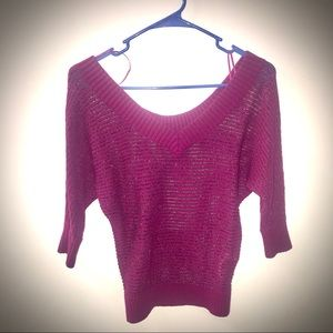 Pink and Silver a knit sweater. Express.